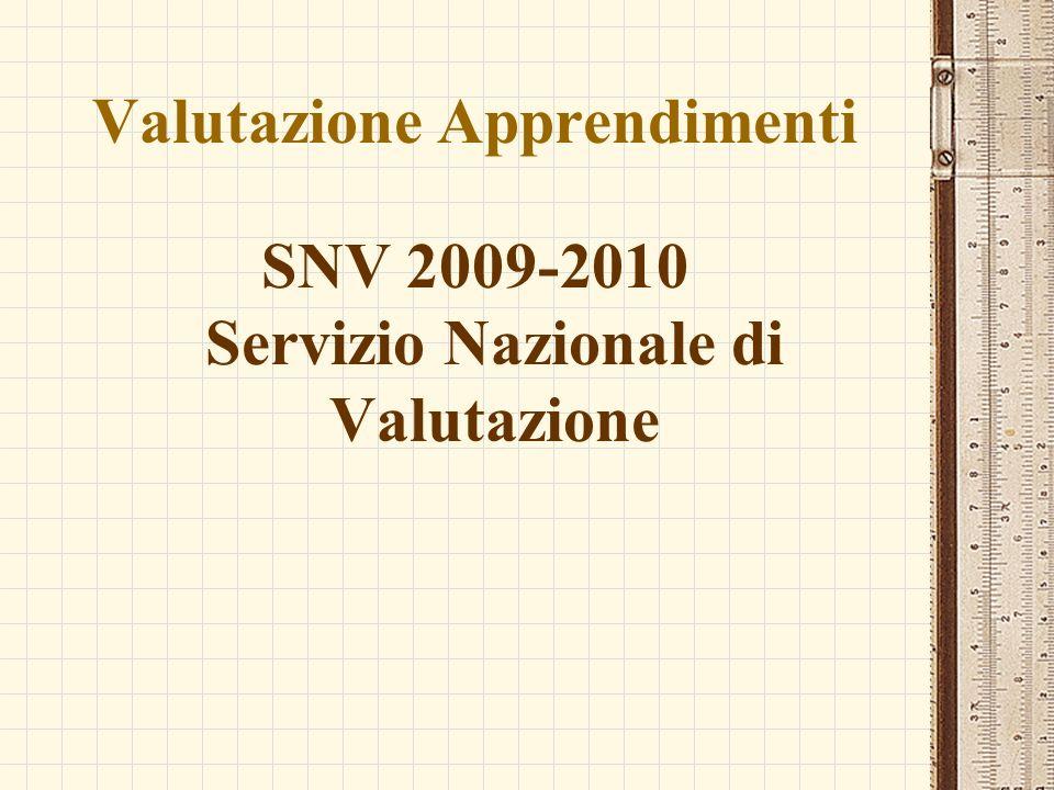 Valutazione Apprendimenti SNV 2009-2010 Servizio Nazionale di Valutazione
