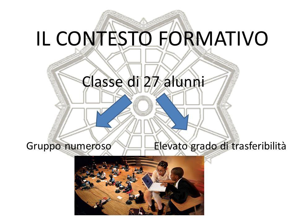 IL CONTESTO FORMATIVO Classe di 27 alunni Gruppo numeroso Elevato grado di trasferibilità