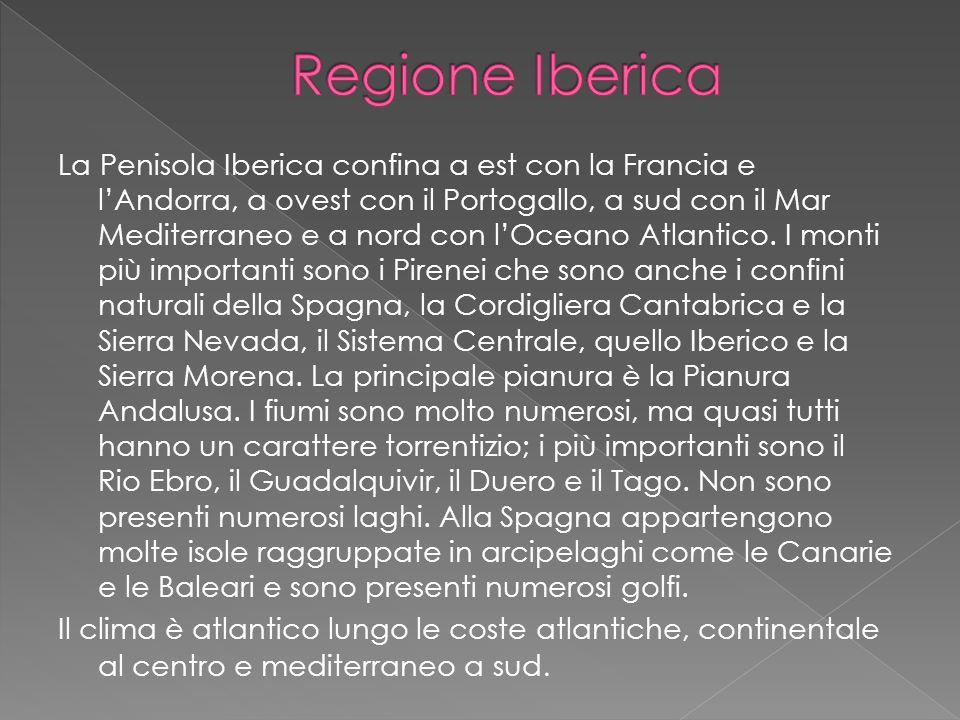 La Penisola Iberica confina a est con la Francia e lAndorra, a ovest con il Portogallo, a sud con il Mar Mediterraneo e a nord con lOceano Atlantico.