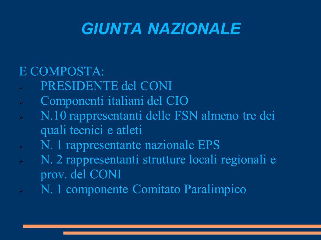 GIUNTA NAZIONALE E COMPOSTA: PRESIDENTE del CONI Componenti italiani del CIO N.10 rappresentanti delle FSN almeno tre dei quali tecnici e atleti N. 1