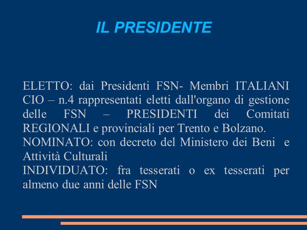 IL PRESIDENTE ELETTO: dai Presidenti FSN- Membri ITALIANI CIO – n.4 rappresentati eletti dall organo di gestione delle FSN – PRESIDENTI dei Comitati REGIONALI e provinciali per Trento e Bolzano.