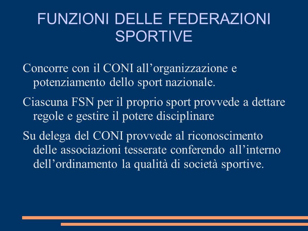 FUNZIONI DELLE FEDERAZIONI SPORTIVE Concorre con il CONI allorganizzazione e potenziamento dello sport nazionale. Ciascuna FSN per il proprio sport pr