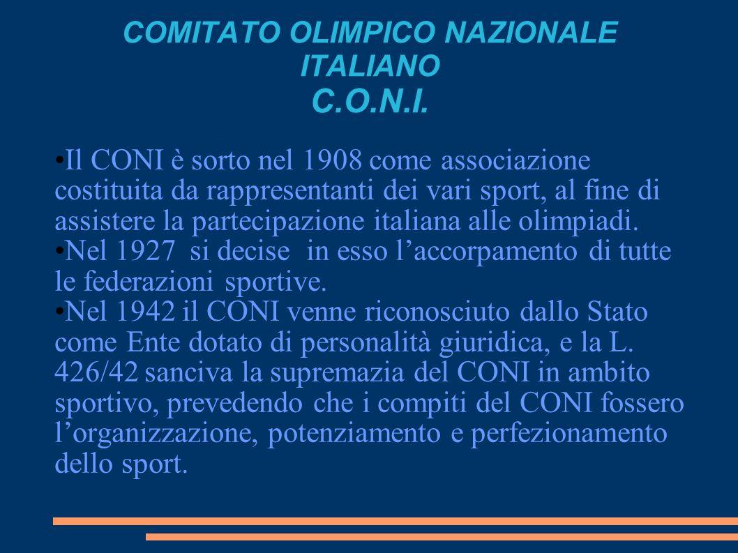 COMITATO OLIMPICO NAZIONALE ITALIANO C.O.N.I. Il CONI è sorto nel 1908 come associazione costituita da rappresentanti dei vari sport, al fine di assis