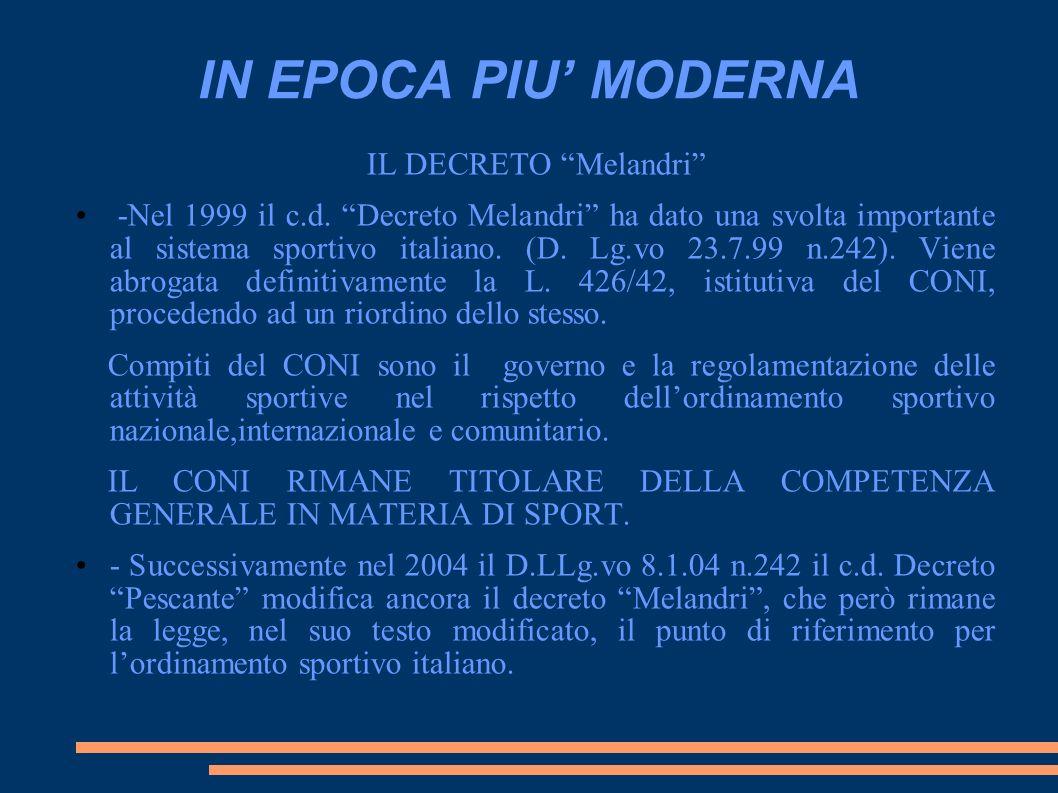 IN EPOCA PIU MODERNA IL DECRETO Melandri -Nel 1999 il c.d. Decreto Melandri ha dato una svolta importante al sistema sportivo italiano. (D. Lg.vo 23.7