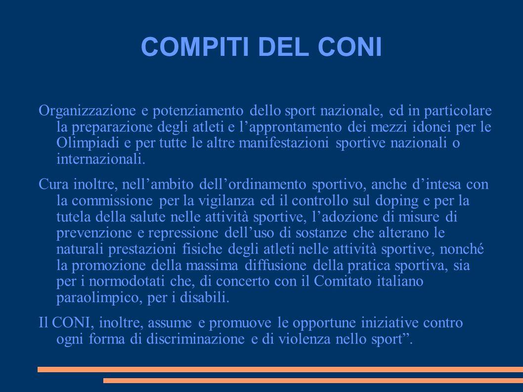 COMPITI DEL CONI Organizzazione e potenziamento dello sport nazionale, ed in particolare la preparazione degli atleti e lapprontamento dei mezzi idone
