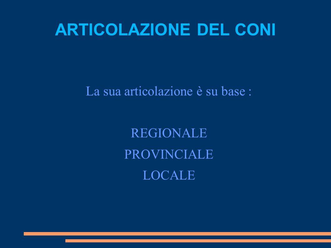 ARTICOLAZIONE DEL CONI La sua articolazione è su base : REGIONALE PROVINCIALE LOCALE