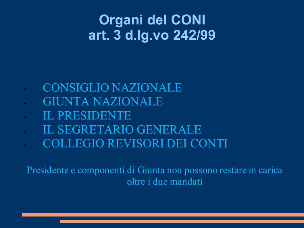 Organi del CONI art. 3 d.lg.vo 242/99 CONSIGLIO NAZIONALE GIUNTA NAZIONALE IL PRESIDENTE IL SEGRETARIO GENERALE COLLEGIO REVISORI DEI CONTI Presidente