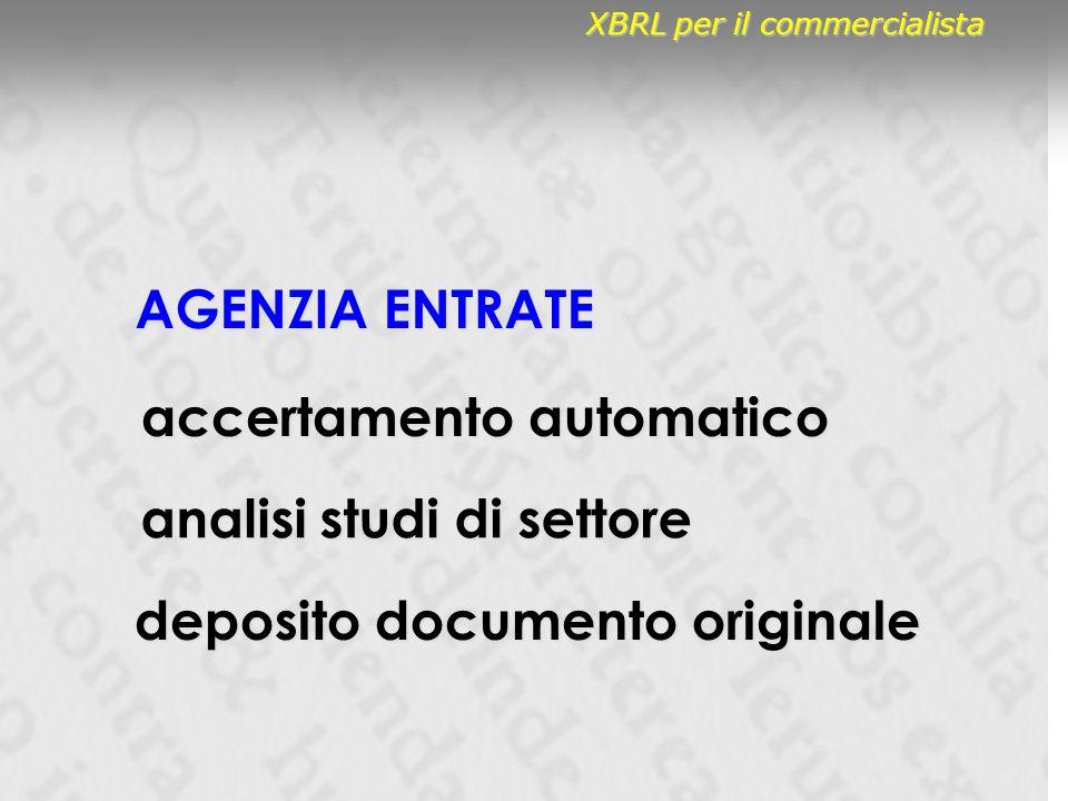 AGENZIA ENTRATE analisi studi di settore accertamento automatico deposito documento originale XBRL per il commercialista