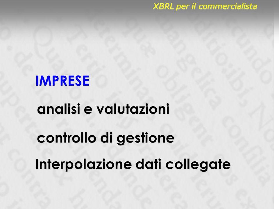 IMPRESE controllo di gestione analisi e valutazioni Interpolazione dati collegate XBRL per il commercialista