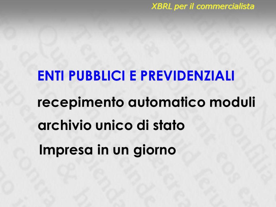 ENTI PUBBLICI E PREVIDENZIALI recepimento automatico moduli Impresa in un giorno archivio unico di stato XBRL per il commercialista