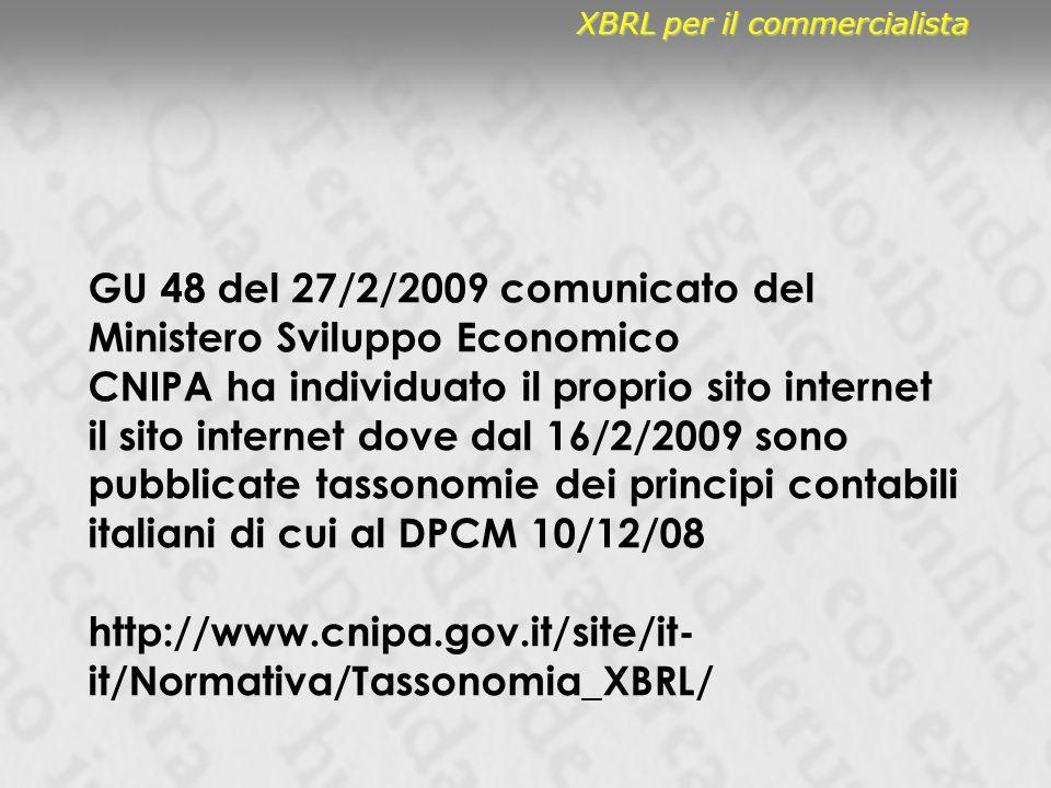 GU 48 del 27/2/2009 comunicato del Ministero Sviluppo Economico CNIPA ha individuato il proprio sito internet il sito internet dove dal 16/2/2009 sono pubblicate tassonomie dei principi contabili italiani di cui al DPCM 10/12/08 http://www.cnipa.gov.it/site/it- it/Normativa/Tassonomia_XBRL/ XBRL per il commercialista