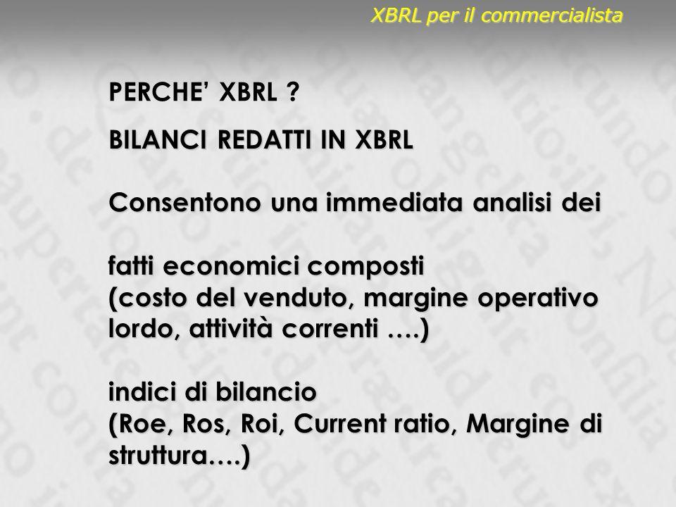 PERCHE XBRL ? XBRL per il commercialista BILANCI REDATTI IN XBRL Consentono una immediata analisi dei fatti economici composti (costo del venduto, mar