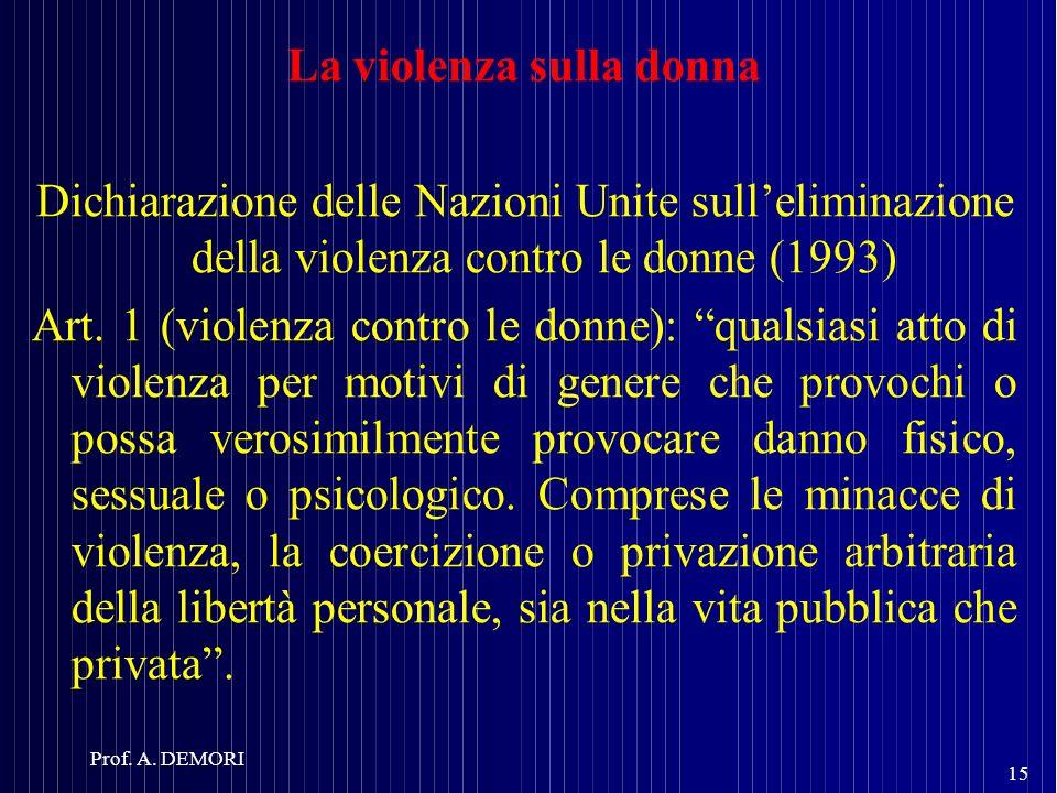 La violenza sulla donna Dichiarazione delle Nazioni Unite sulleliminazione della violenza contro le donne (1993) Art. 1 (violenza contro le donne): qu