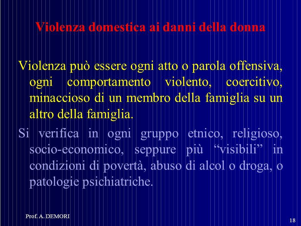 Violenza domestica ai danni della donna Violenza può essere ogni atto o parola offensiva, ogni comportamento violento, coercitivo, minaccioso di un me