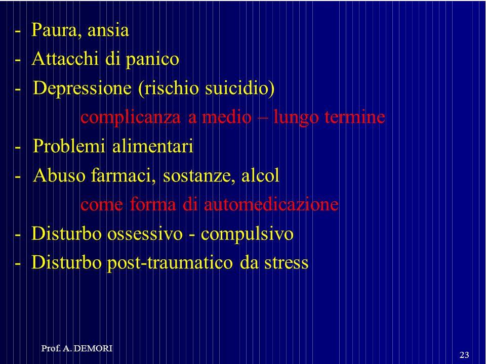 - Paura, ansia - Attacchi di panico -Depressione (rischio suicidio) complicanza a medio – lungo termine -Problemi alimentari -Abuso farmaci, sostanze,