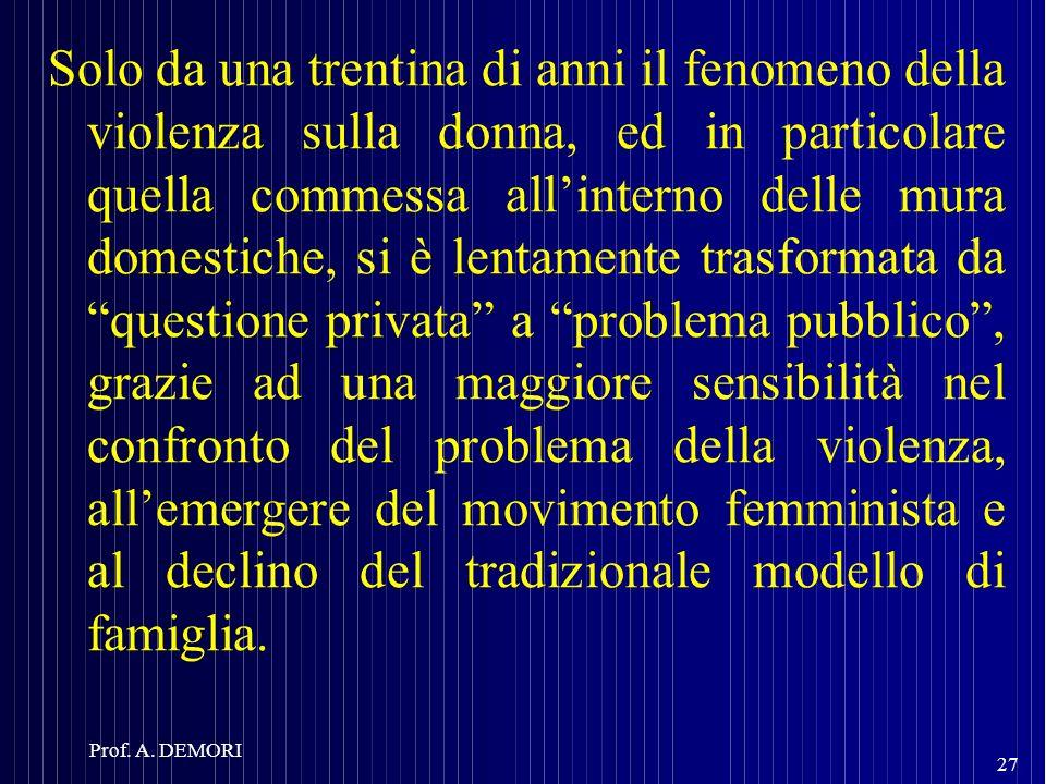 Solo da una trentina di anni il fenomeno della violenza sulla donna, ed in particolare quella commessa allinterno delle mura domestiche, si è lentamen