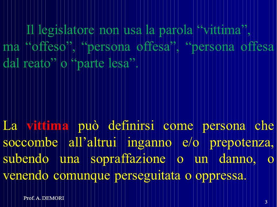 Il legislatore non usa la parola vittima, ma offeso, persona offesa, persona offesa dal reato o parte lesa. La vittima può definirsi come persona che