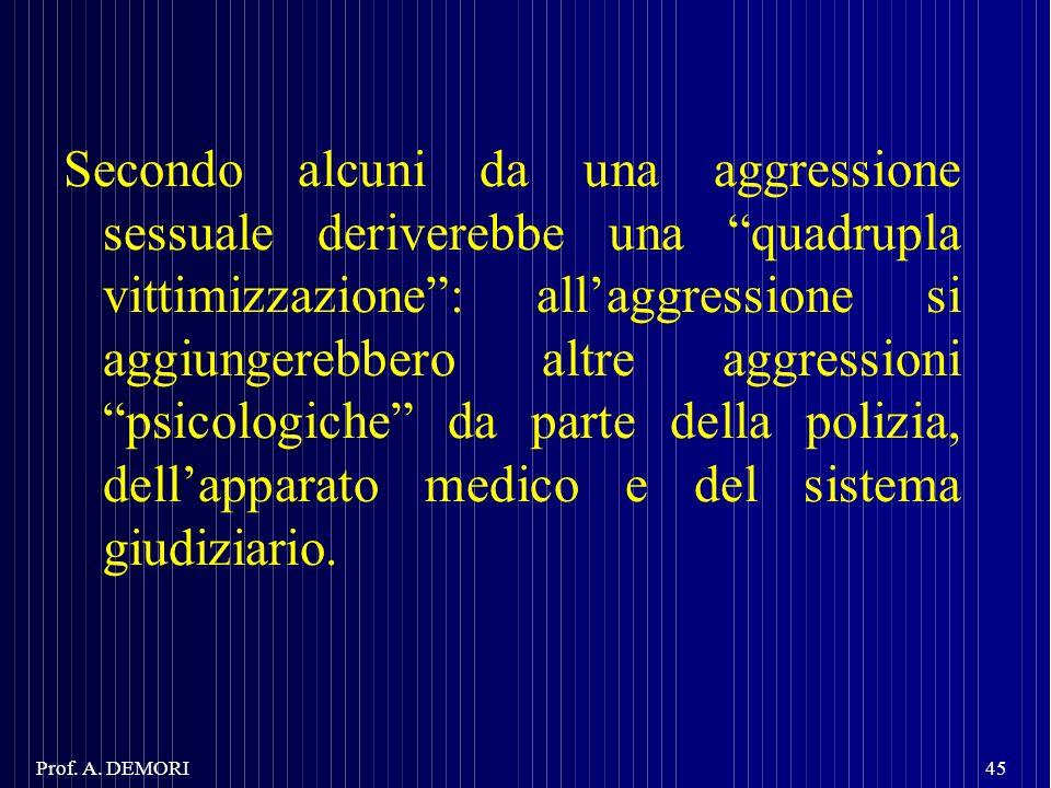 Secondo alcuni da una aggressione sessuale deriverebbe una quadrupla vittimizzazione: allaggressione si aggiungerebbero altre aggressioni psicologiche