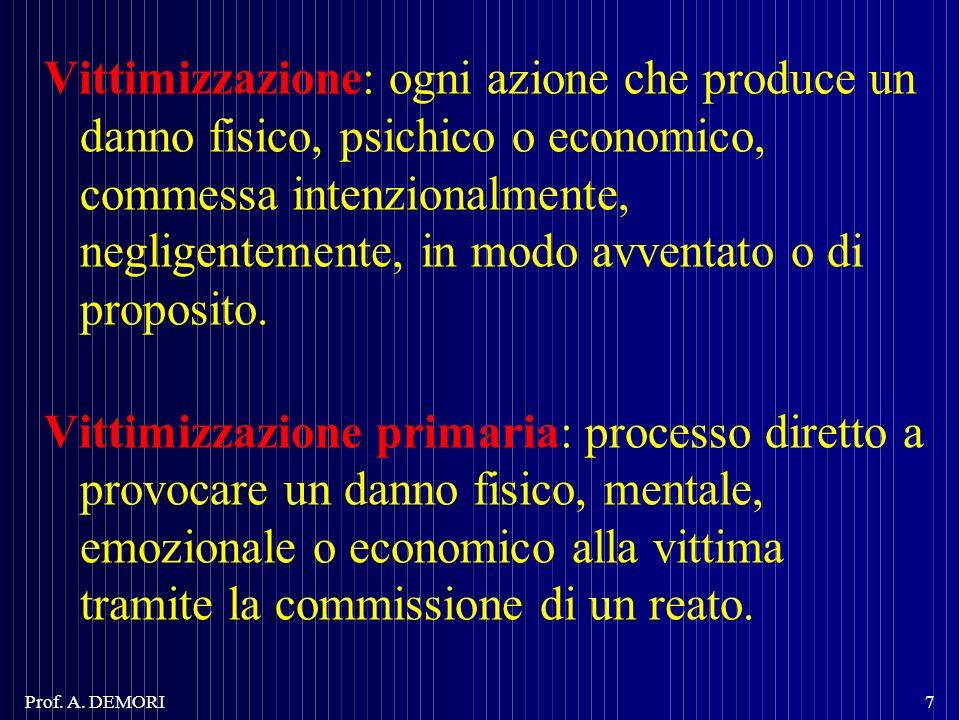 Vittimizzazione: ogni azione che produce un danno fisico, psichico o economico, commessa intenzionalmente, negligentemente, in modo avventato o di pro