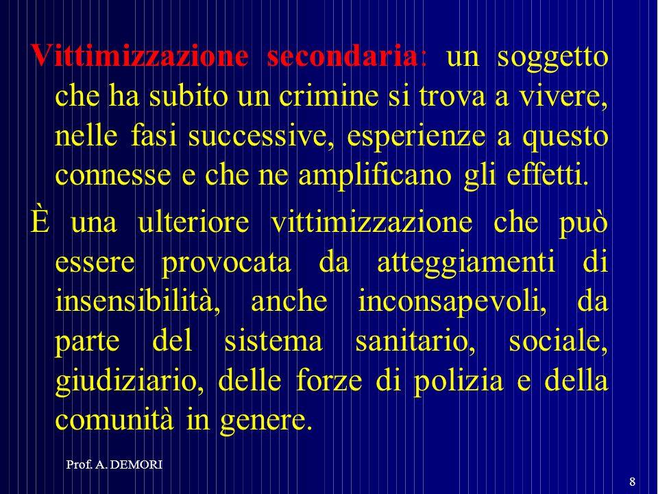 Vittimizzazione secondaria: un soggetto che ha subito un crimine si trova a vivere, nelle fasi successive, esperienze a questo connesse e che ne ampli