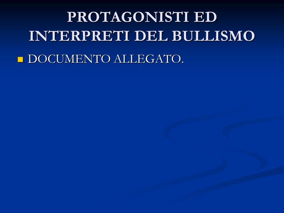 PROTAGONISTI ED INTERPRETI DEL BULLISMO DOCUMENTO ALLEGATO. DOCUMENTO ALLEGATO.