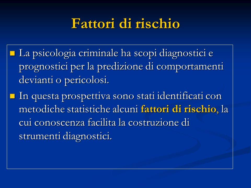 Fattori di rischio La psicologia criminale ha scopi diagnostici e prognostici per la predizione di comportamenti devianti o pericolosi.
