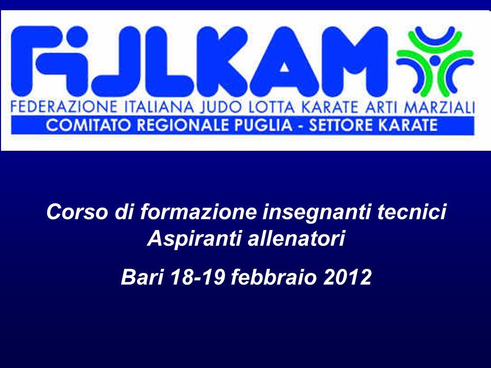 Corso di formazione insegnanti tecnici Aspiranti allenatori Bari 18-19 febbraio 2012