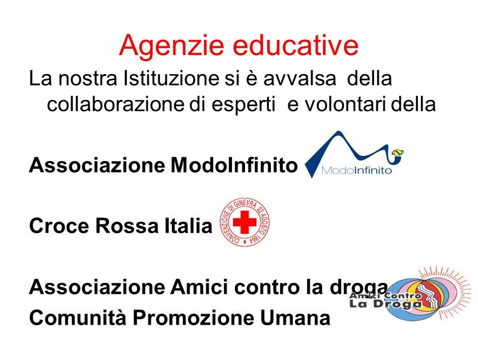Agenzie educative La nostra Istituzione si è avvalsa della collaborazione di esperti e volontari della Associazione ModoInfinito Croce Rossa Italiana Associazione Amici contro la droga Comunità Promozione Umana