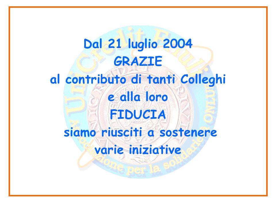 Dal 21 luglio 2004 GRAZIE al contributo di tanti Colleghi e alla loro FIDUCIA siamo riusciti a sostenere varie iniziative