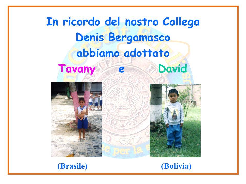 In ricordo del nostro Collega Denis Bergamasco abbiamo adottato Tavany e David (Brasile) (Bolivia)