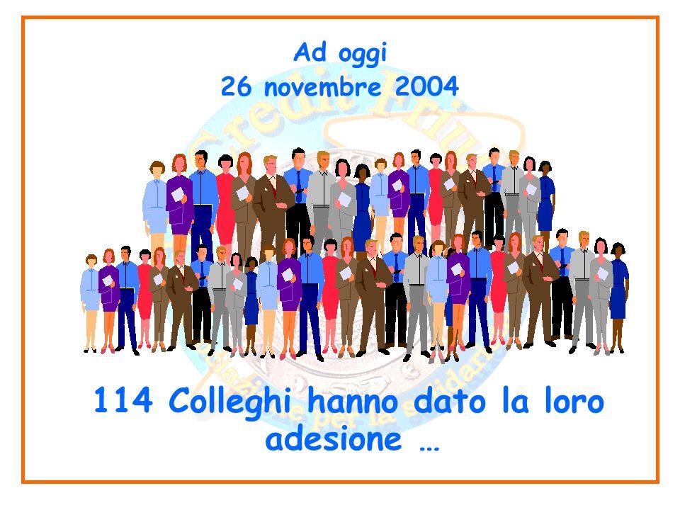 Ad oggi 26 novembre 2004 114 Colleghi hanno dato la loro adesione …