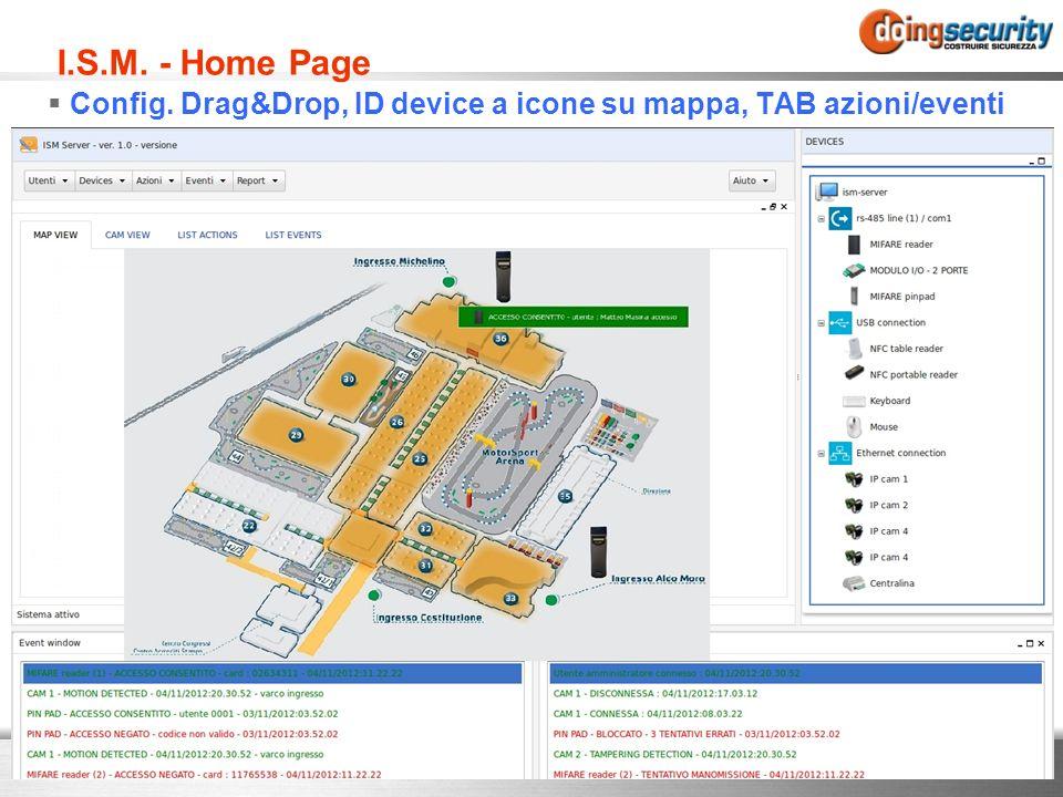 I.S.M. - Home Page Config. Drag&Drop, ID device a icone su mappa, TAB azioni/eventi