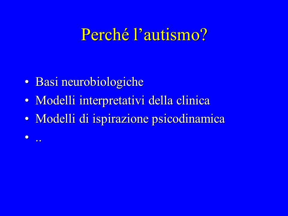 Perché lautismo? Basi neurobiologicheBasi neurobiologiche Modelli interpretativi della clinicaModelli interpretativi della clinica Modelli di ispirazi
