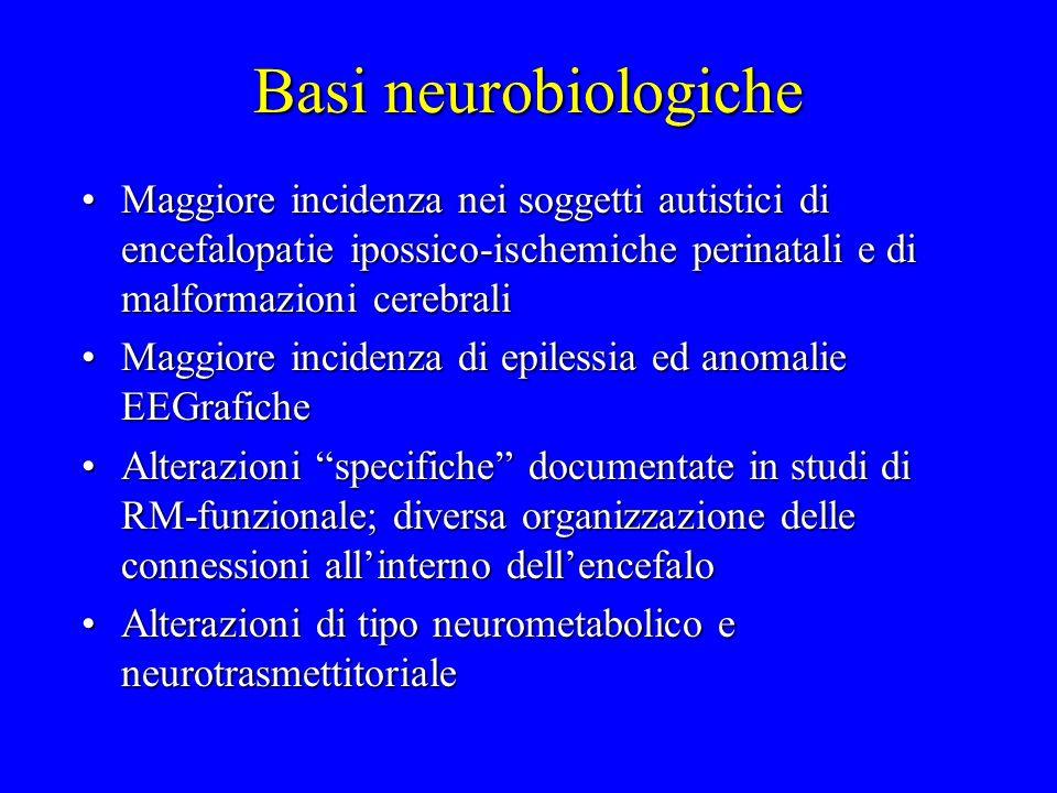 Basi neurobiologiche Maggiore incidenza nei soggetti autistici di encefalopatie ipossico-ischemiche perinatali e di malformazioni cerebraliMaggiore in