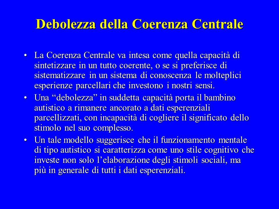Debolezza della Coerenza Centrale La Coerenza Centrale va intesa come quella capacità di sintetizzare in un tutto coerente, o se si preferisce di sist