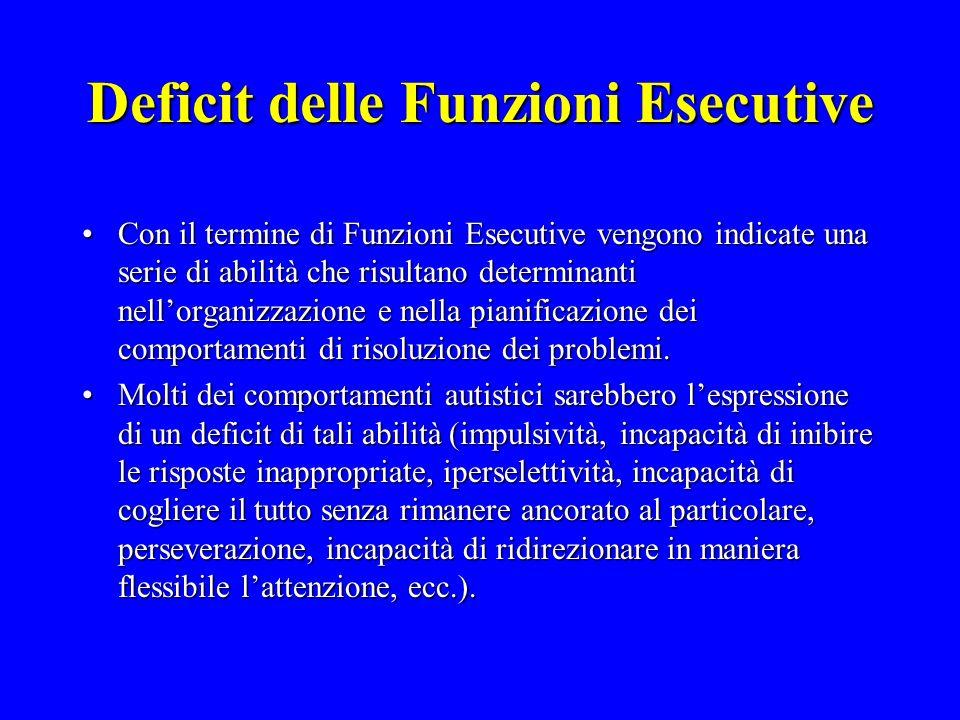 Deficit delle Funzioni Esecutive Con il termine di Funzioni Esecutive vengono indicate una serie di abilità che risultano determinanti nellorganizzazi