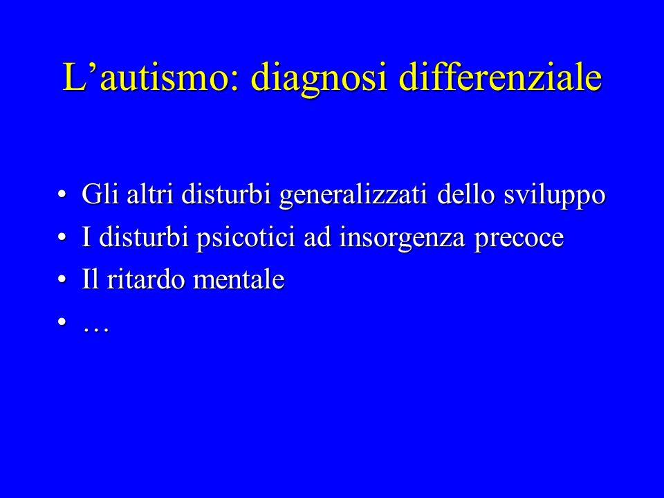 Lautismo: diagnosi differenziale Gli altri disturbi generalizzati dello sviluppoGli altri disturbi generalizzati dello sviluppo I disturbi psicotici a
