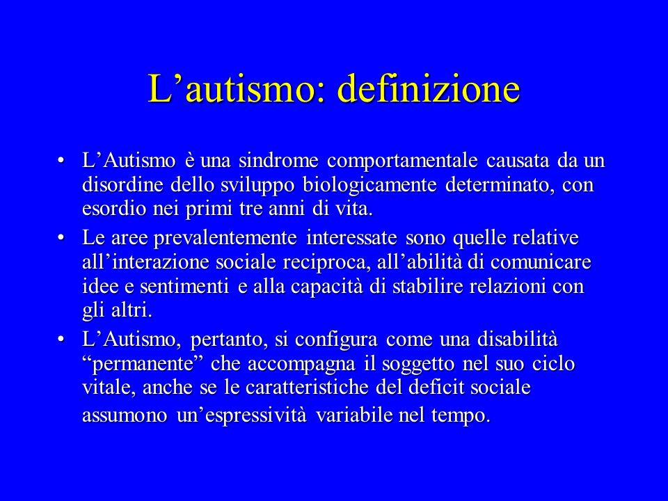 Lautismo: definizione LAutismo è una sindrome comportamentale causata da un disordine dello sviluppo biologicamente determinato, con esordio nei primi