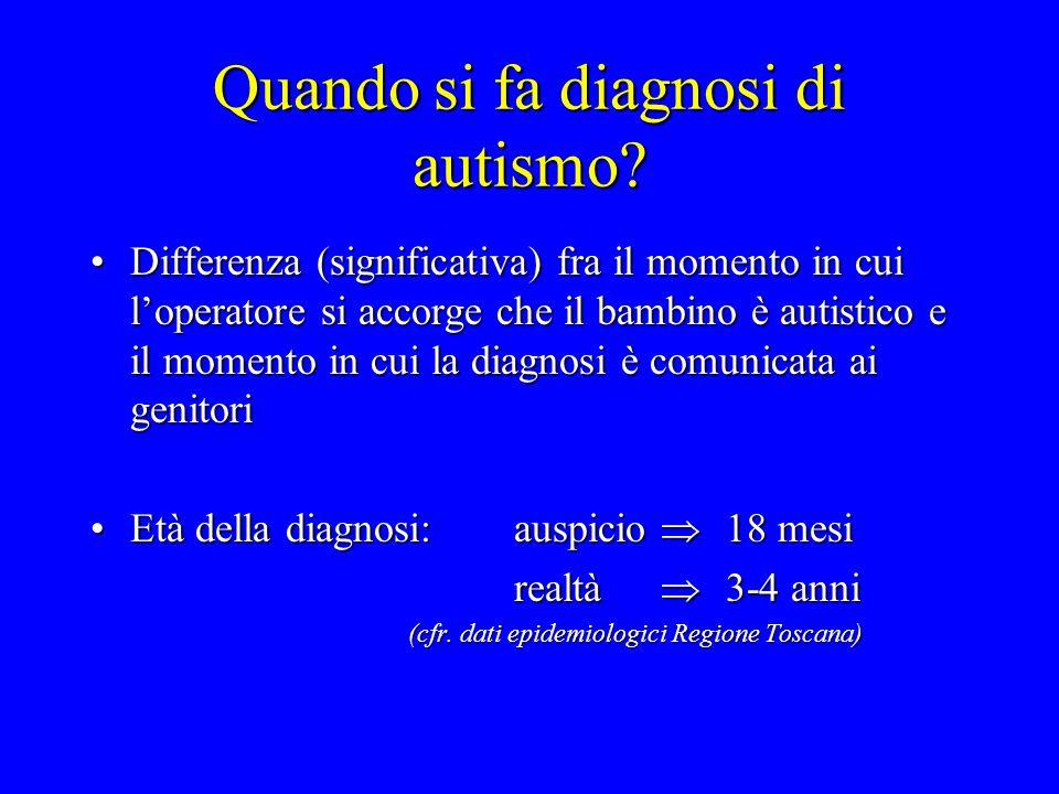 Quando si fa diagnosi di autismo? Differenza (significativa) fra il momento in cui loperatore si accorge che il bambino è autistico e il momento in cu