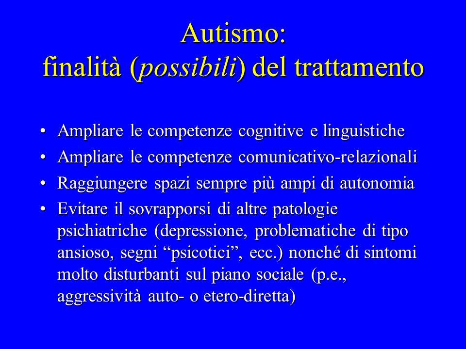 Autismo: finalità (possibili) del trattamento Ampliare le competenze cognitive e linguisticheAmpliare le competenze cognitive e linguistiche Ampliare