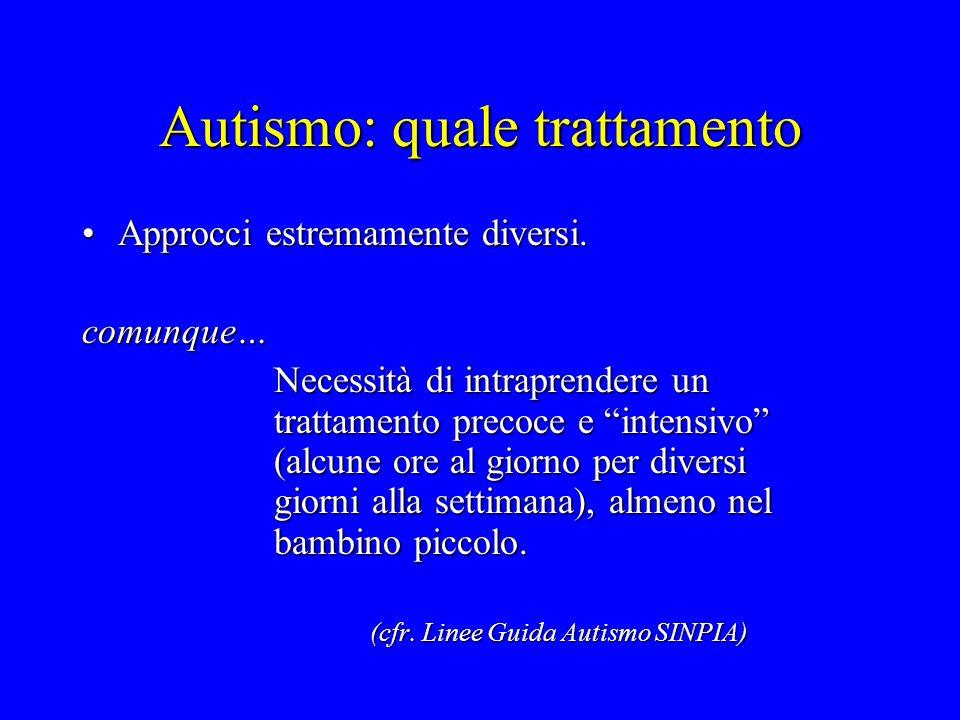 Autismo: quale trattamento Approcci estremamente diversi.Approcci estremamente diversi. comunque… Necessità di intraprendere un trattamento precoce e