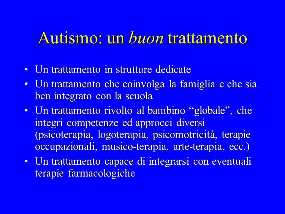 Autismo: un buon trattamento Un trattamento in strutture dedicateUn trattamento in strutture dedicate Un trattamento che coinvolga la famiglia e che s