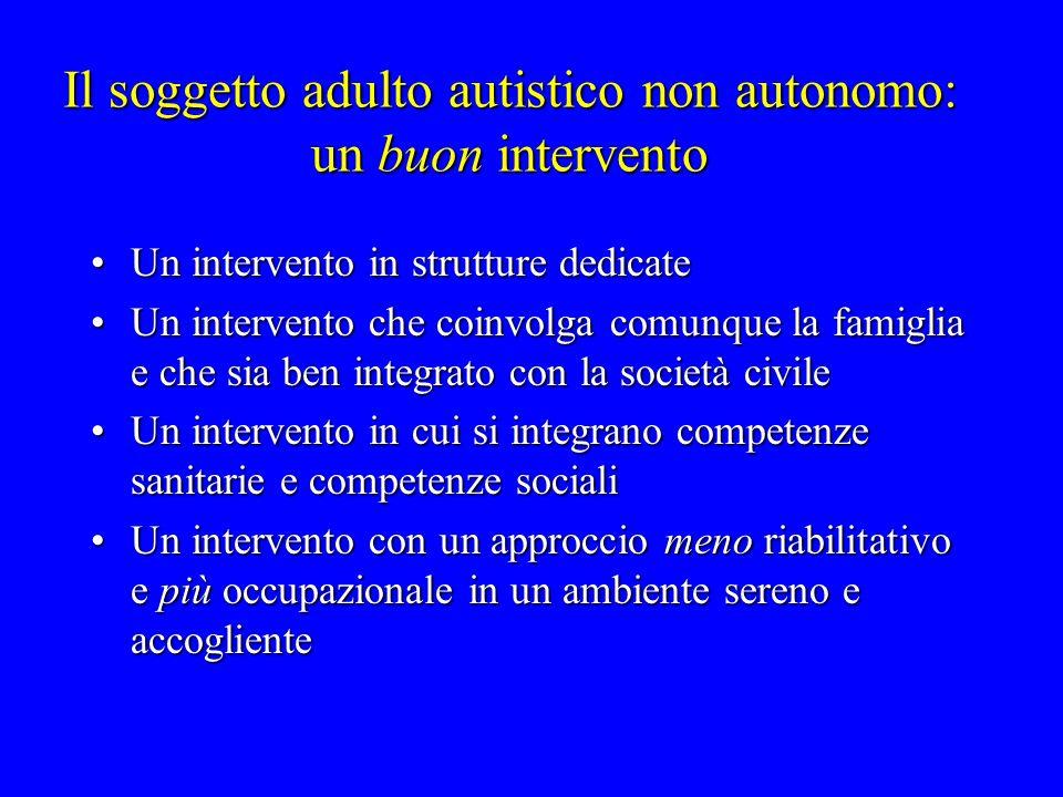 Il soggetto adulto autistico non autonomo: un buon intervento Un intervento in strutture dedicateUn intervento in strutture dedicate Un intervento che