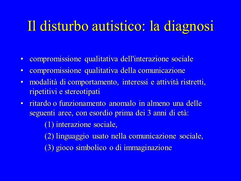 Il disturbo autistico: la diagnosi compromissione qualitativa dell'interazione socialecompromissione qualitativa dell'interazione sociale compromissio