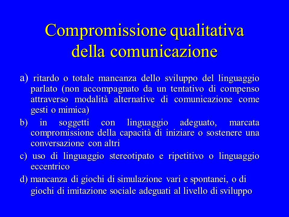 Compromissione qualitativa della comunicazione ritardo o totale mancanza dello sviluppo del linguaggio parlato (non accompagnato da un tentativo di co