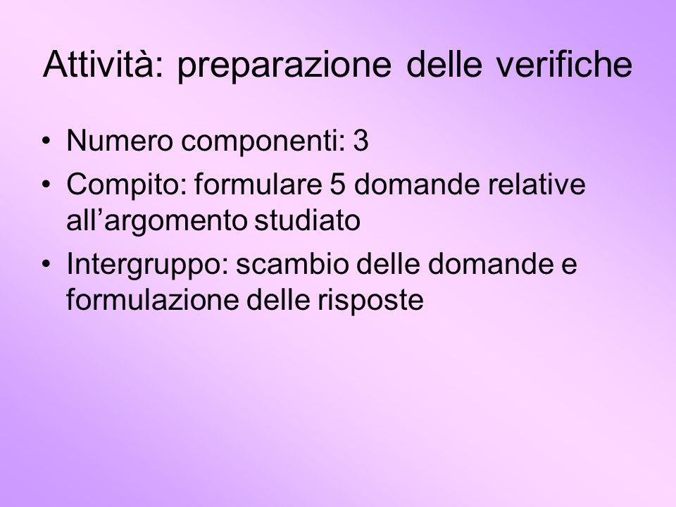 Attività: preparazione delle verifiche Numero componenti: 3 Compito: formulare 5 domande relative allargomento studiato Intergruppo: scambio delle dom