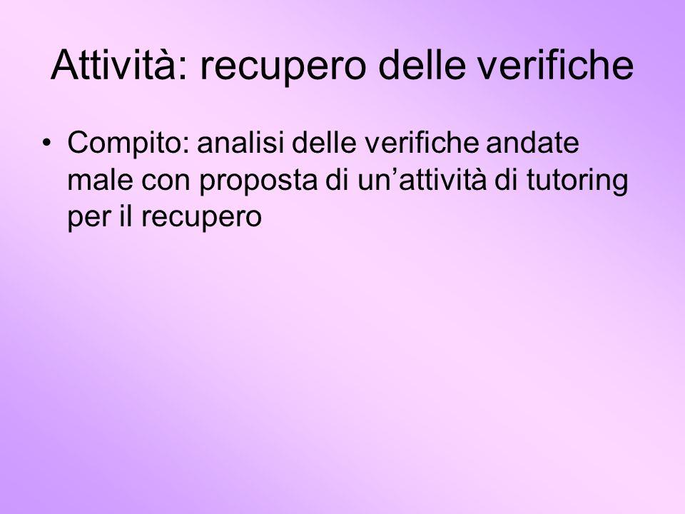 Attività: recupero delle verifiche Compito: analisi delle verifiche andate male con proposta di unattività di tutoring per il recupero