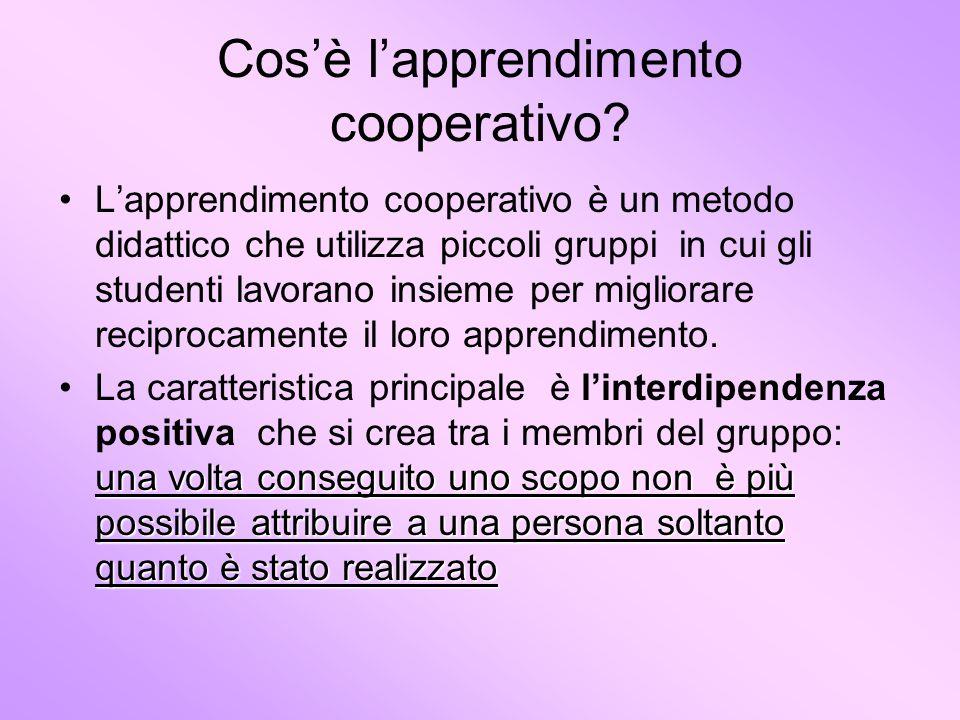 Cosè lapprendimento cooperativo? Lapprendimento cooperativo è un metodo didattico che utilizza piccoli gruppi in cui gli studenti lavorano insieme per