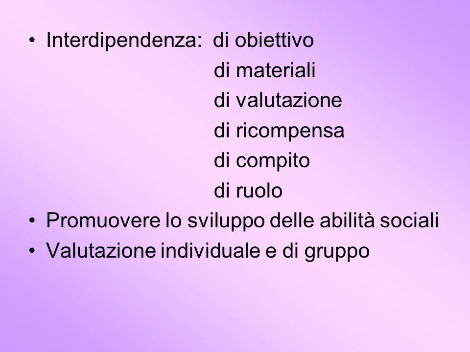 Interdipendenza: di obiettivo di materiali di valutazione di ricompensa di compito di ruolo Promuovere lo sviluppo delle abilità sociali Valutazione i