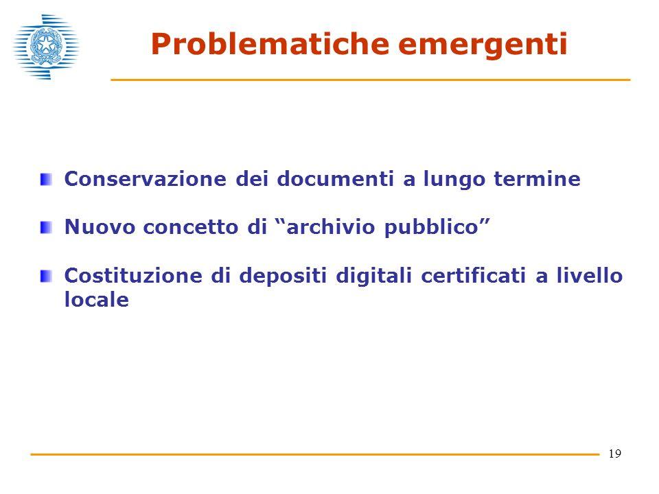 19 Problematiche emergenti Conservazione dei documenti a lungo termine Nuovo concetto di archivio pubblico Costituzione di depositi digitali certificati a livello locale